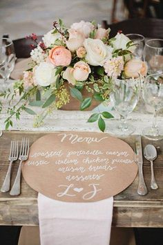 This is cute- will plates already be on the tables? Could do wording in dark brown or a wedding color?