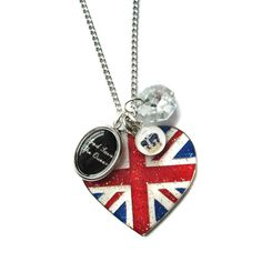 God Save the Queen Heart Union Jack Crown and Swarovski Diamond Jubilee Charm Necklace from Hoolala by Hoolala £28...want it!!!