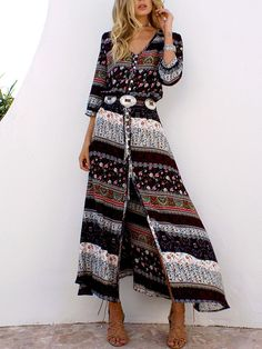 Shop Ethnic Style Printed Bandage Boho Maxi Dress – Discover sexy women  fashion at IVRose Kaftan c67ed100622