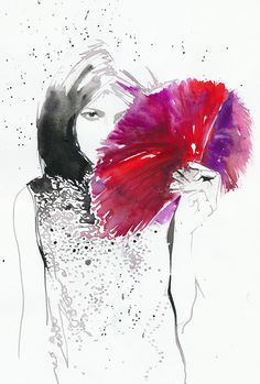 Original Watercolor Painting, Fashion Illustration Girl with Red Ostrich Feathers. $255.00, via Etsy.