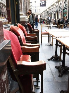 Cinema chairs outside a small cafe, Brussels, Belgium.