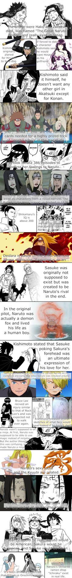 Fascinating Facts About Naruto | Anime/manga: Naruto / Naruto: Shippuden / Boruto [Zabuza Momochi / Haku / Hiruzen Sarutobi / Hinata Hyuuga / Konan / Choji Akimichi / Shikamaru Nara / Ino Yamanaka / Naruto Uzumaki / Orochimaru / Tsunade Senju / Jiraiya / Choza Akimichi / Deidara / Sasuke Uchiha / Sakura Haruno / Sanji Vinsmoke / Rock Lee / Neji Hyuuga /  Kyuubi / Mitsuki]