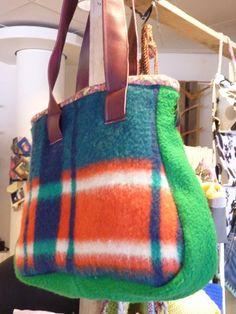 Wollen deken - ruitjes - groen - tas - BijDeHand