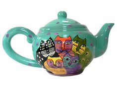 Laurel Burch Teapot Turquoise Cats Abstract 1998