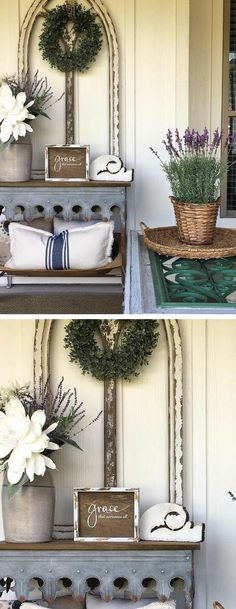 Farmhouse Entry Inspiration {{SIDesignCo}} Lovely fixer upper inspired decor! I love the beautiful vignette on the table, the wreath on that frame is GORGEOUS! And of course the little sign is precious. Good to be reminded of truth. #farmhousedecor #farmhousesigns #rusticdecor #farmhouseentry #entryway #entrywayideas #affiliate