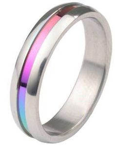 Rainbow Anodized Plain Ring - Gay & Lesbian Pride Stainless Steel Ring. LGBT Pride - Gay and Lesbian Ring. High quality steel ring band for men or women. Rainbow Pride Jewelry is Great for the Gay parade, as a Lesbian, Gay, Bisexual, or Transgender Gift to Celebrate Marriage, Love and Equality. SIZE (5)