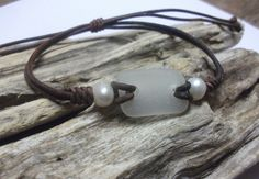 Scottish Sea Glass & Pearl Bracelet by byNaturesDesign on Etsy, $16.00
