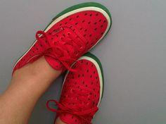 Vans Watermelon Shoes · 410 Gone Watermelon Shoes, Sweet Watermelon, Watermelon Slushie, Watermelon Crafts, Crazy Shoes, Me Too Shoes, Weird Shoes, Vans Shoes, Oxford Shoes