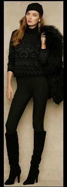 All black winter fashion.