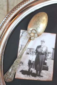 Vintage silver spoon magnet with jewel on chalkboard silver tray
