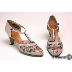 Shoes Made Of Beige Leather With Polychrome Floral Applique Designed By Andre Perugia - French  c. 1925  -The Museum at FIT