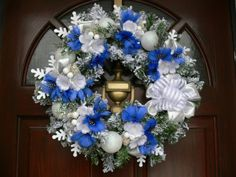 Handmade gorgeous luxury Christmas wreath decoration ornament White Silver Blue. Free shipping.