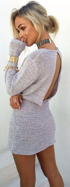 #summer #coolest #outfits | Grey Knit Dress + Pop Of Gold