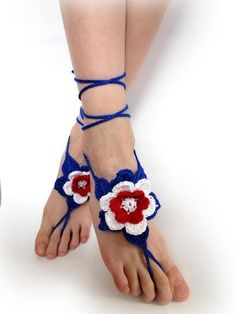 Crochet Barefoot Sandals - Foot jewelry - Patriotic Red Blue White - 4thJuly