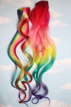 Rainbow Human Hair Extensions. Colored Hair by Cloud9Jewels