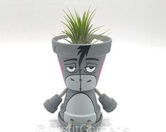 Winnie the Pooh and Friends - Mini Air Plant Holder Set with Plants Painted Pots, Hand Painted, Unicorn Farts, Air Plant Display, Clay Pot Crafts, Thing 1, Free Plants, Hardy Plants, Water Plants