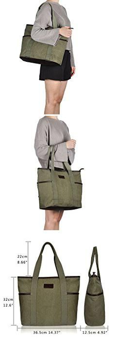 Storage Totes For Sale. Canvas Tote Bag for Women,Sunny Snowny Large Tote Bags,Work School Shoulder Bag(8002,Army Green).  #storage #totes #for #sale #storagetotes #totesfor #forsale