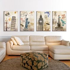 4 Piece Artwork Wall Oil Painting Prints on Canvas Famous European Landscape Pictures Home Decor Unframed New Cuadros Decoracion-inPainting & Calligraphy from Home & Garden on Aliexpress.com | Alibaba Group