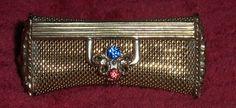 Vtg Brass? Lipstick Case Gold Toned Metal Tube Holder Blue Red Glass Stone Clasp