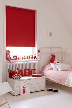 Our Fresh Pillarbox Roller blind is strikingly red and perfect for a children's bedroom. It would also work well in a London themed room as an accent colour, or to break up a monochrome scheme. Take your pick! Grown Up Bedroom, Bedroom Red, Bedroom Paint Colors, Bedroom Themes, Girls Bedroom, Bedroom Decor, Bedroom Ideas, Childs Bedroom, Cool Curtains