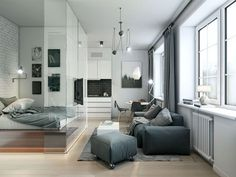 The bedroom apartment design is part of the apartment interior that must be considered in terms of appearance, because with an attractive appearance and in acco Small Studio Apartment Design, Small Studio Apartments, Small Apartment Interior, Small Apartment Kitchen, Apartment Bedroom Decor, Small Apartment Decorating, Small Apartments, Layout, Interior Ideas