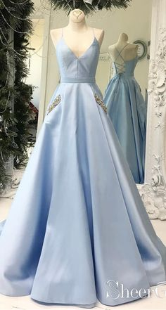 9c46b53f957 Simple V Neck Sky Blue Satin Long Prom Dresses with Pocket ARD1968