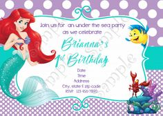 Updated free printable ariel the little mermaid invitation template little mermaid invitation ariel invitation free thank you card filmwisefo