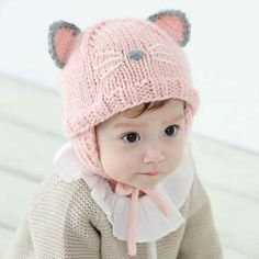 65fe737489b Cute cat costume hat with ear for baby winter knit ear flap hats