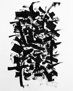 Abstract Calligraphy on indian paper. China ink. Copyright Christophe Badani.