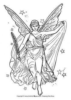 Goddess Nike Colouring Page