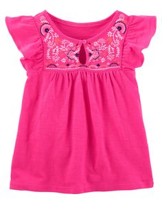 Kid Girl Embroidered Peasant Top from Carters.com. Shop clothing & accessories from a trusted name in kids, toddlers, and baby clothes.
