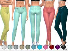 The Sims Resource: Stretch Skinny Pants With Zips by Ekinege • Sims 4 Downloads
