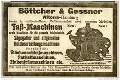 Original-Werbung/ Anzeige 1907 - FASS- MASCHINEN / BÖTTCHER & GESSNER HAMBURG - ALTONA - ca. 110 x 75 mm