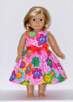 Pink Flower Peace Sign Dress made To Fit American Girl Doll Ribbon Included