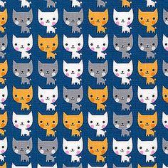 Tissu coton Suzy's Minis Cat - navy x 20cm