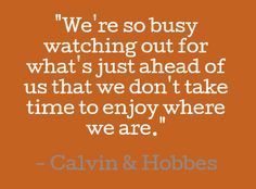 We're so busy watching out for what's just ahead of us that we don't take time to enjoy where we are. #quotes #calvinhobbes #life