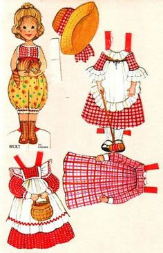 Paper Doll ~ The Ginghams - Becky Paper Art, Paper Crafts, Paper Dolls Printable, Holly Hobbie, Vintage Paper Dolls, Paper Toys, Doll Toys, Childhood Memories, Gingham