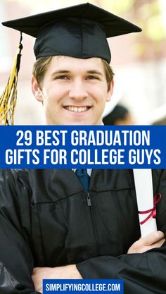 Looking for the best college graduation gifts for guys? Here are 29+ ideas perfect for your son, nephew, boyfriend, brother, or grandson! #college #graduation Graduation Gifts For Guys, College Guys, Brother, Boyfriend, Party, Ideas, Parties, Thoughts, College Boys