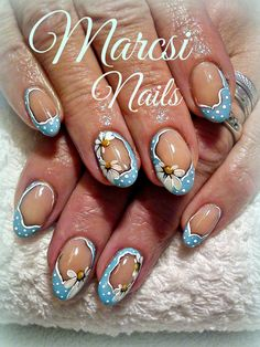 Blue nails, with acryl flower painting