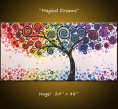 "Original Large Abstract Painting Modern Contemporary... Ready to hang ... 24 x 48 .. ""Magical Dreams"". $340.00 USD, via Etsy."