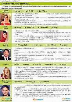 Verbos de cambio Spanish Grammar, Spanish Vocabulary, Spanish Language Learning, Spanish Teacher, Spanish Classroom, Teaching Spanish, Spanish Worksheets, Spanish Activities, Study Spanish