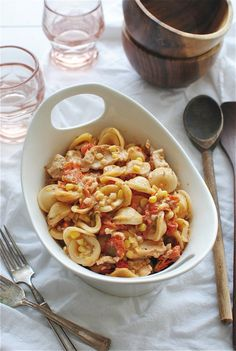 Creamy Tomato Pasta with Chicken and Sweet Corn.