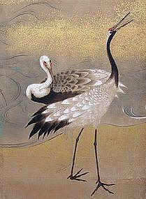 Important Edo Period Japanese Crane Screen, O-oka Shunboku Japanese Artwork, Japanese Painting, Japanese Prints, Chinese Painting, Chinese Art, Japanese Bird, Japanese Crane, Korean Art, Asian Art