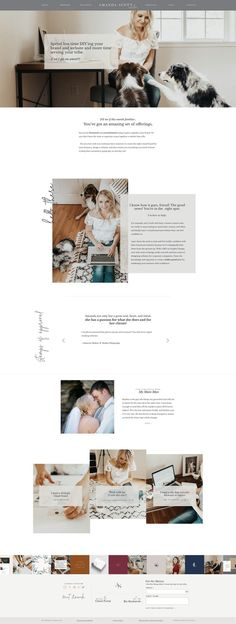 Modern, feminine website template for creative entrepreneurs. Modern and elegant web design.