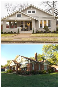Tour: Fixer Upper Style Before / After by Fixer Upper show on HGTV. Unfortunately, paint colors are unavailable.Before / After by Fixer Upper show on HGTV. Unfortunately, paint colors are unavailable. Brick Paint Colors, Exterior Paint Colors, Exterior House Colors, Paint Colors For Home, Exterior Design, Paint Brick, Exterior Signage, Fixer Upper Show, Painted Brick Exteriors
