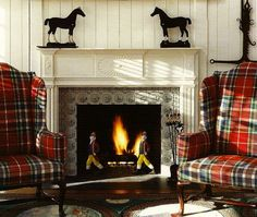 LOVE the tartan chairs flanking the fireplace!  Gorgeous!!!