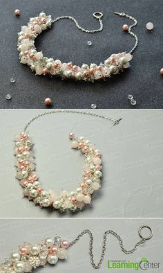 How to Make a Pearl Bridal Cluster Necklace craft #fashion #jewelry #necklace