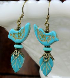 Blue Bird and Leaf Howlite Stone Beaded Dangle Earrings