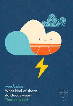 What kind of shorts do clouds wear? #WeeHeeHee #KidsJokes