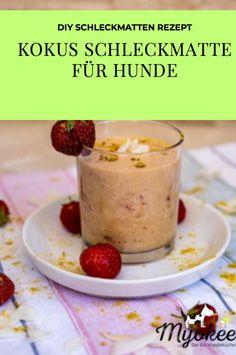 #myokee #schleckmatte #frauchenbackt #diy #dogtreats Dog Treats, Pudding, Breakfast, Desserts, Blog, Diy, Strawberries, Pet Dogs, Bricolage